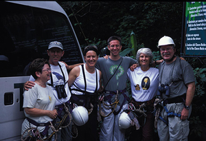 Jeff (in center) after canopy-climbing adventure in Panama